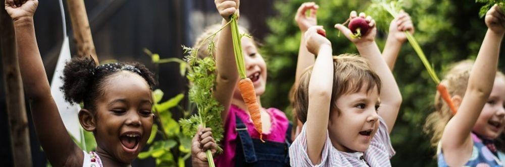 Kinder freuen sich und halten Gemüse hoch